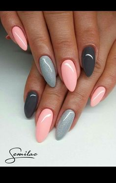 nail art designs braid fashion makeup Are you looking for lovely gel nail art designs that are excellent for this summer? See our collection full of cute summer nails art ideas and get inspired! Pink Gel Nails, Gray Nails, Gel Vs Acrylic Nails, Almond Gel Nails, Dark Pink Nails, Pastel Nails, Trendy Nails, Cute Nails, Fancy Nails