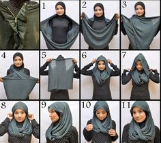 I have collected hijab styles step by step tutorial. It consists of steps required to wear beautiful hijab styles. These steps for hijab styles are easy. Turban Hijab, Mode Turban, Islamic Fashion, Muslim Fashion, Hijab Fashion, Fashion Scarves, How To Wear Hijab, How To Wear Scarves, Hijab Outfit