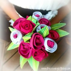 Keepsake bouquet made from favorite tee shirts.