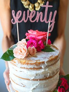 You can still be seventy and stylish! This Whimsical Garden birthday party has so many beautiful touches. Celebrate turning any age (yes, even 70!) with these decoration, dessert, and photo ideas—like this gorgeous naked cake topped with real flowers.