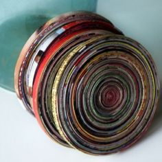 green home idea: magazine pages to coasters: put your drinkable cosmo on your recycled cosmo!