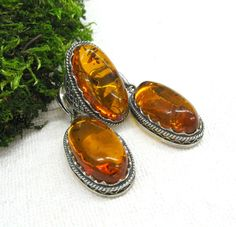 Russian Vintage Genuine Amber earrings ring jewelry set large oval amber gemstone dark silver gift for mom auntie granny USSR nostalgia by SanaGem on Etsy