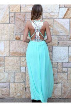 Blue Sequin Back V-Neck Maxi Dress