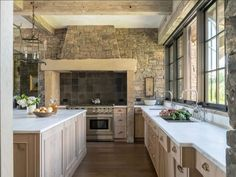 "Carrie Delany Interiors on Instagram: ""And then I suddenly wanted to make a stone kitchen happen for someone.... with the right windows and cabinetry design it somehow is rustic…"" Kitchen Design Open, Best Kitchen Designs, Kitchen Ideas, Kitchen Layout, Diy Kitchen, Kitchen Decor, Modern Kitchen Cabinets, Kitchen Counters, Kitchen Modern"