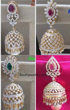 Diamond earrings latest jewelry designs - Page 3 of 53 - Indian Jewellery Designs Gold Jhumka Earrings, Jewelry Design Earrings, Gold Earrings Designs, Diamond Earrings, Indian Earrings, Pendant Jewelry, Indian Jewelry Sets, Indian Jewellery Design, Jewellery Designs