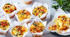 Vegie-loaded pumpkin and cheese muffins These easy savoury muffins are packed with cheese, pumpkin and hidden vegetables such as leek and c Mini Muffins, Cheese Muffins, Savory Muffins, Savory Snacks, Yummy Snacks, Healthy Snacks, Egg Muffins, Healthy Kids, Zucchini Muffins