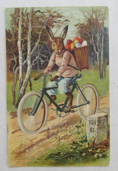 C.1905 POSTCARD...EASTER BUNNY RIDING ON BICYCLE WITH BASKET OF EGGS, MUST SEE #Easter