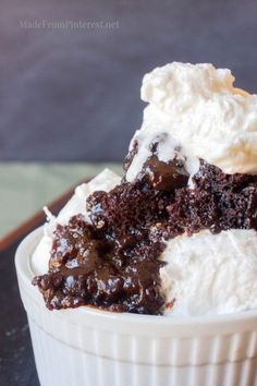 This Easy Molten Chocolate Lava Cake makes its own sauce, it's so good. Cake mix, pudding, and chocolate chips in the crock pot make this easy comfort food.