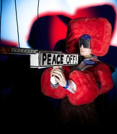 WARPOP MIXTAKE FAKEBOOK VOLXFUCK PEACE OFF! / Theater costume & headpiece. Subrealistic war hero