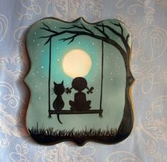 Silhouette little girl and her cat swinging on a moonlit night by CZ 13
