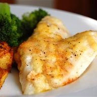 Broiled Tilapia Parmesan Recipe (review: use celery seed, add .5 t. paprika, .25 t. garlic powder and .25 t. red pepper flakes, can omit lemon juice or use half or sub with lowfat mayo or sour cream, can add ~ 1/2 c. of bread crumbs to the cheese mixture, and Season the fish with a bit of Old Bay seasoning)