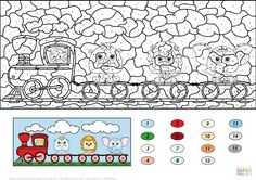 Train With Lion Elephant And Rhino Color By Number Super Coloring Fall Coloring Pages Coloring Pages Color By Number Printable