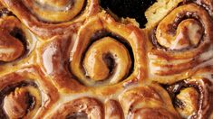 Cinnamon-Date Sticky Buns. These fluffy buttermilk-laced buns are filled with a cinnamon-scented date purée to capture all that gooey sticky bun glory without being overly sweet. Cheesecakes, Vanilla Paste, Canned Heat, Thing 1, Sticky Buns, Sticky Rolls, Dry Yeast, Clean Recipes, Gourmet