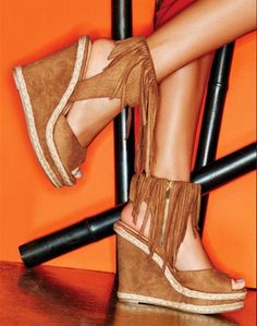 Trend fringe? Check! mark. Here To Sway Wedges #markgirl #shoes #sandals #summerstyle