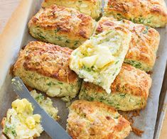 These scones really pack a punch with rocket and a double dose of cheese – feta in the scones and cheddar on the top. Slathered in butter, a warm scone is true comfort food, right? Kiwi Recipes, Gf Recipes, Baking Recipes, Recipies, Bread Recipes, Scone Recipe Nz, Spaghetti, Pinwheel Recipes, Savoury Baking