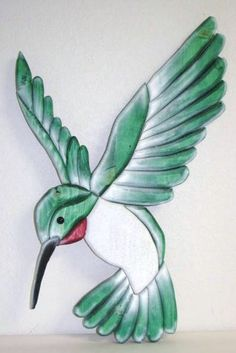 large intarsia-style hummingbird (about 3 ft) can be painted any color (see also our large hibiscus flower that goes great with this) Stained Glass Birds, Sea Glass Art, Painted Glass Blocks, Painted Rocks, Hummingbird Drawing, Watercolor Hummingbird, Mosaic Birds, Bird Quilt, Pet Rocks