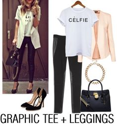Leggings can be incorporated into your workwear wardrobe if you style them appropriately. Pair with a blazer, graphic tee, statement accessories and pumps for the perfect casual Friday ensemble. Would you rock this look?