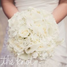 All White Bridal Bouquet roses, calla lilies and hydrangeas