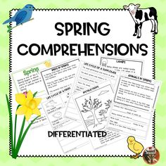 Spring comprehensions Suitable for and northern hemisphere Each comprehension is differentiated a minimum of 3 ways. Each comprehension is linked to th. Guided Reading Activities, Spring Activities, Kindergarten Reading, Science Activities, Activities For Kids, Reading Comprehension Ks1, Spring Sign, Differentiation, Teaching Resources