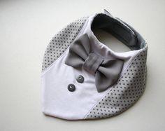 Baby slabbetje jongen doopsel slabbetje, shirt strikje slabbetje baby bandana slab verwisselbaar strikje, de gift van de douche van de baby voor pasgeboren, baby grijze stippen