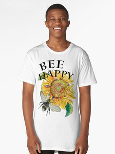 'Bee Happy Sunflower' Long T-Shirt by jurast Bee Happy, V Neck T Shirt, Chiffon Tops, Classic T Shirts, Hoodies, Mens Tops, Art, Fashion, Moda