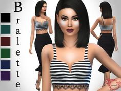A new bralette top available in 6 striped colors. Available for teens, young adults, adults and elders with its own thumbnail.  Found in TSR Category 'Sims 4 Female Everyday'