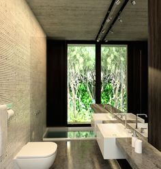 Bathroom of Gres House with View of Forest
