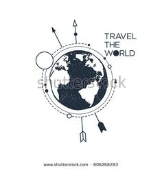 """Hand drawn inspirational badge with textured planet Earth vector illustration and """"Travel the world"""" lettering."""