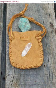 Leather medicine bag Buckskin leather drawstring by thunderrose, $4.80
