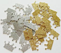 Silver and Gold Glitter Crown Confetti by PattyAntlesPrettys