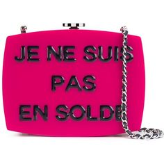 Chanel Vintage \'Je Ne Suis Pas En Solde\' Shoulder Bag (78,105 GTQ) ❤ liked on Polyvore featuring bags, handbags, shoulder bags, fuchsia handbags, chanel shoulder bag, vintage handbags, pink purse and vintage purses