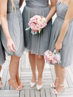 A Bit Of Pink + Grey Wedding Inspiration Grey Bridesmaid Dresses Short, Grey Bridesmaids, Wedding Dresses, Grey Dresses, Bridesmaid Bouquets, Bridal Bouquets, Short Dresses, Pink Grey Wedding, Mod Wedding