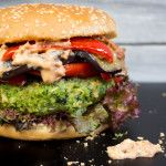 Green Monster Veggie Burger… [[MORE]] …with grilled eggplant, red bell pepper, and vegan sun-dried tomato mayonnaise… RECIPE Ingredients For the green monster veggie patties: Burger Recipes, Veggie Recipes, Whole Food Recipes, Vegetarian Recipes, Cooking Recipes, Healthy Recipes, Veggie Meals, Vegan Foods, Vegan Dishes