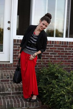 dress plus shirt and blazer= faux maxi skirt and I love it!