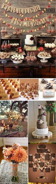 17 Ideas for wedding themes fall ideas decor Wedding Themes, Diy Wedding, Rustic Wedding, Wedding Decorations, Fall Decorations, Candy Table, Dessert Table, Perfect Day, Festa Party