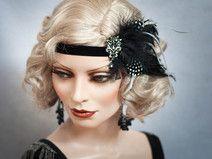 Haarschmuck Federn Haarband 20er Stirnband Schwarz