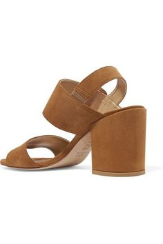 db2f80662452 Heel measures approximately 85mm  3.5 inches Tan suede Buckle-fastening  strap Designer color