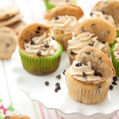 Chocolate Chip Cookie Dough Cupcakes - basically a cookie dough bomb waiting to explode in your mouth