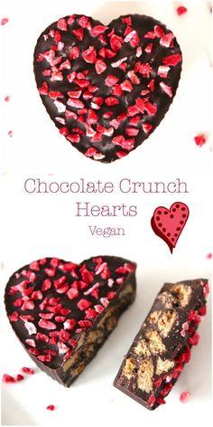 Valentines Chocolate Crunch Hearts (Dairy-Free / Vegan)