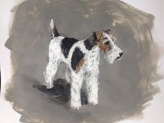 Wire Fox Terrier dog original ink & acrylic paint on paper