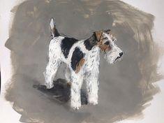 Wire Fox Terrier dog, original ink & acrylic paint on paper Welsh Terrier, Terrier Dogs, Fox Terriers, Wire Haired Terrier, Wire Fox Terrier, Acrylic Painting On Paper, Simple Acrylic Paintings, Pen And Wash, Pet Breeds