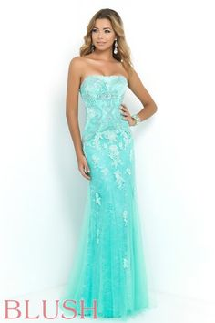 Blush Prom Dress Style 9944. Feel like royalty in this Spearmint all lace strapless A-line gown. Bodice is adorned with a vine like pattern of crystal beads, rhinestones, and hand sewn appliques that descend down the floor length skirt finished with a sweet curling fish line hem. Come see us at Rubie&Jane in Lufkin, TX for Prom 2015!