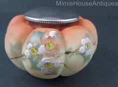 TOMATO melon shape POWDER JAR - Faux Burmese hp Enamel - antique Mt. Washington in Pottery & Glass | eBay