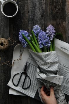 fresh blooms wrapped in newspaper