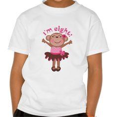 8th Birthday Girl Monkey T-shirt