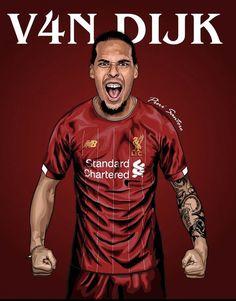 Virgil Van Dijk, Liverpool Fc, Cool Pictures, Football, Mens Tops, Illustration, England, Design Ideas, Fan