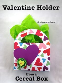 Valentine Holder from a Cereal Box by Crafty Journal