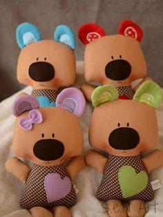 Stuffed Teddy Bear with Heart Plush teddy bear Stuffed por SenArt1