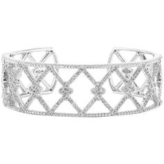 Preowned Jude Frances Silver And White Topaz Cuff ($1,501) ❤ liked on Polyvore featuring jewelry, bracelets, cuff bracelets, white, cuff jewelry, white topaz jewelry, silver jewelry, silver cuff bracelet and judefrances