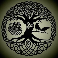 This would make a great tattoo.... Yggdrasil, the world ash tree... Odin, on his 8 legged horse Sleipnir... His ravens Hugin and Munin (Thought and Memory).